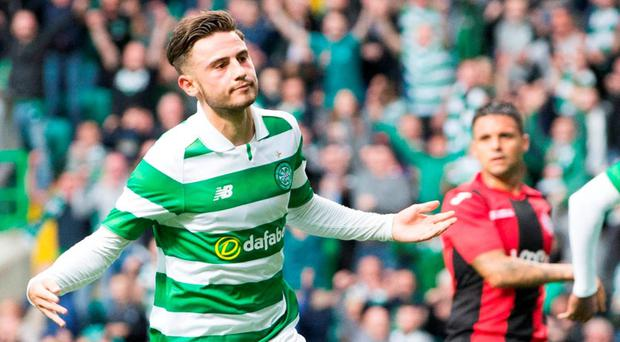Celtic Patrick Roberts celebrates scoring his side's third goal of the game during the UEFA Champions League second qualifying round, second leg match at Celtic Park, Glasgow. PA