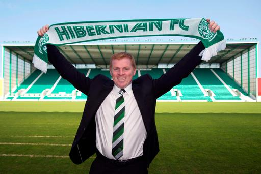 File photo dated 09-06-2016 of New Hibernian manager Neil Lennon after a press conference at Easter Road, Edinburgh. PRESS ASSOCIATION Photo. Issue date: Monday July 18, 2016. Now she has handed Neil Lennon the task of leading the club to promotion at the third time of asking. Luring the former Celtic boss to Edinburgh is a bold appointment and an indicator of Dempster's determination to end Hibs' time in the second tier. See PA story SOCCER Pre season Scottish Championship Overview. Photo credit should read John Linton/PA Wire.