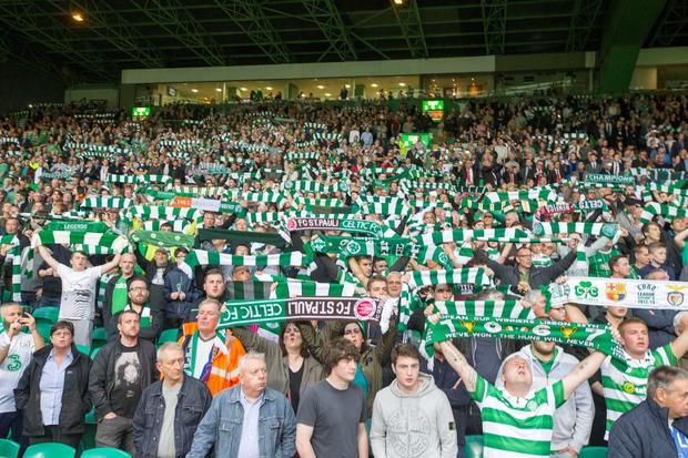 Celtic show their support in the stands prior to the UEFA Champions League second qualifying round, second leg match at Celtic Park, Glasgow. PRESS ASSOCIATION Photo. Picture date: Wednesday July 20, 2016. See PA story SOCCER Celtic. Photo credit should read: Jeff Holmes/PA Wire.