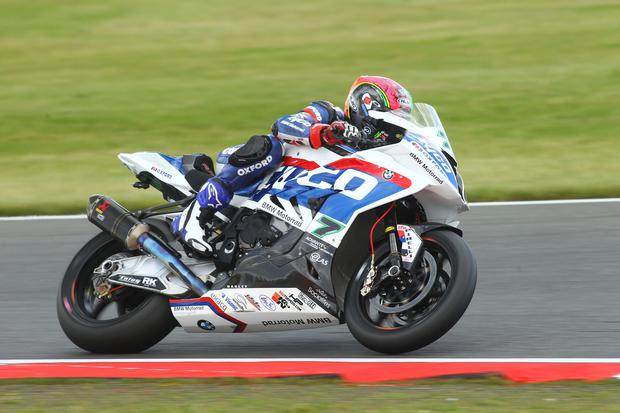 Full throttle: Michael Laverty, main pic and inset, loves high speed Thruxton circuit