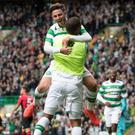 Pat's the way to do it: Patrick Roberts celebrates scoring Celtic's third goal in their 3-0 rescue act against Lincoln Red Imps