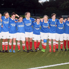 Champions: Linfield Ladies players celebrate after clinching the Danske Bank Women's Premiership last night