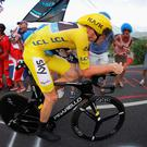 Chris Froome of Great Britain and Team Sky wears the yellow jersey as he rides during stage eighteen of the 2016 Le Tour de France, from Sallanches to Megeve on July 21, 2016 in Megeve, France. (Photo by Chris Graythen/Getty Images)