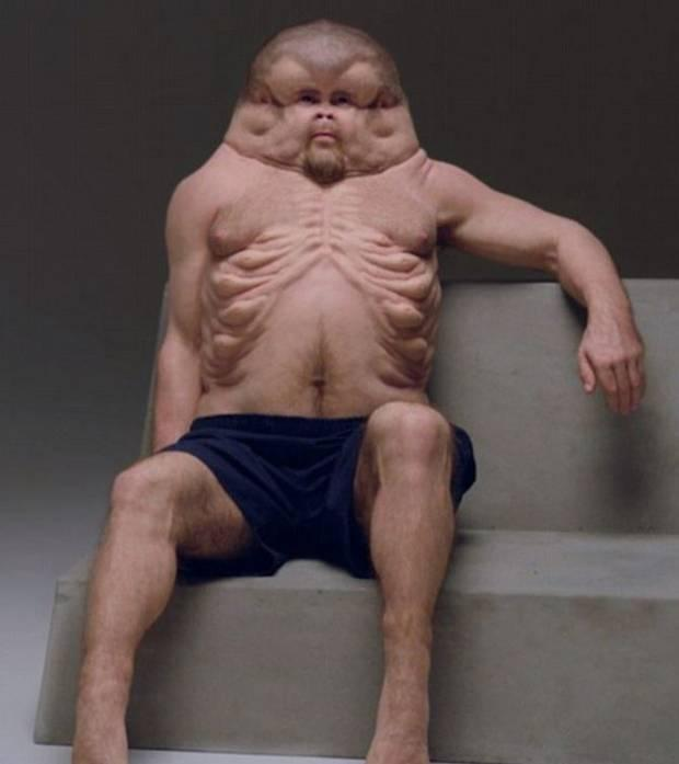 Patricia Piccinini's Graham has stronger legs than a typical person and knees which can bend in any direction