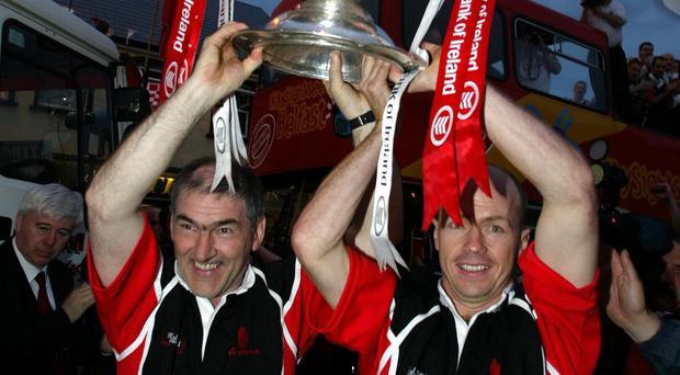 Sam achievement : Harte and Canavan with All Ireland Sam Maguire trophy in 2003
