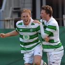 Lethal: Celtic's Calvin Miller celebrates after scoring the first goal of the game against Real Sociedad at the Ballymena Showgrounds