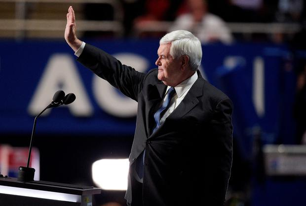 Former Speaker of the House Newt Gingrich waves to the crowd after delivering a speech on the third day of the Republican National Convention on July 20, 2016 at the Quicken Loans Arena in Cleveland, Ohio. (Photo by Jeff Swensen/Getty Images)