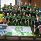 The Top of the Hill Youth and Community FC pictured before Tuesday's Hughes Insurance Foyle Cup Parade at Magee College, with some of the local referees in this year's competition.