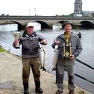 Prize guys: Raymond Steward (left) and Roland Capoullez, Best Irish Angler and Best European Angler, with their prize salmon caught on the Moy
