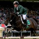 Leap of faith: Ireland's Cian O'Connor on board Good Luck at the Dublin Horse Show yesterday