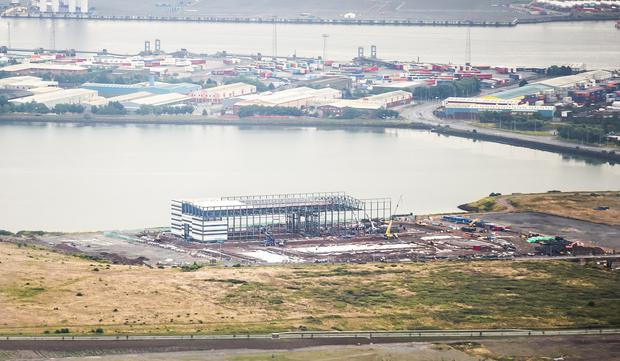 Picture - Kevin Scott / Belfast Telegraph General views of North Foreshore Film Studios in Belfast as building work gets underway on the £10m studios in the Harbour area on July 24 2016 ( Photo by Kevin Scott / Belfast Telegraph )