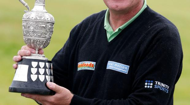 Paul Broadhurst celebrates after winning the Senior Open Championship
