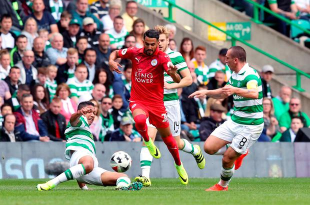 Running the show: Riyad Mahrez shone in the friendly win over Celtic