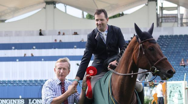 Riding high: Peter Smyth also enjoyed success on board Templepatrick Welcome Limerick at the Dublin Horse Show this week