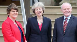 Prime Minister Theresa May is pictured with First Minister Arlene Foster and deputy First Minister Martin McGuinness at Stormont Castle, Belfast, during her first official visit to Northern Ireland. Photo by Jonathan Porter / Press Eye