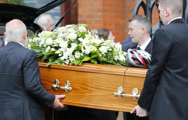 The funeral of 60-year-old David Catherwood who died following an RTC on the A2 Belfast Road takes place in Belfast on July 25 2016 ( Photo by Kevin Scott / Presseye )