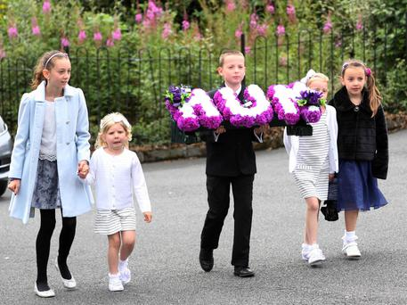 Emotional farewells being said today to mother-of-three Valerie Armstrong who was killed after being struck by a dirt bike last week. Picture: Freddie Parkinson/Press Eye ©