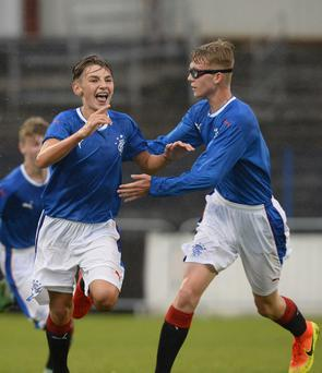 Up and running: Rangers' Billy Gilmour scores against Co Armagh at Coleraine Showgrounds