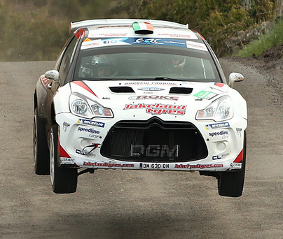 No go: Craig Breen on his way to glory last year but neither he nor his Citroen DS3 R5 will be in Circuit of Ireland Rally action in 2017