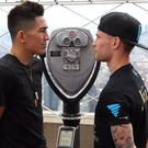 Shock value: Leo Santa Cruz and Carl Frampton come face to face at the Empire State building in the Big Apple