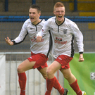 Level pegging: Niall Cassidy shows his delight after equalising for County Down in their 2-1 win over Armagh