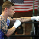 Fired up: Carl Frampton training at Champs Gym in New Rochelle, USA ahead of his WBA featherweight title fight against Leo Santa Cruz