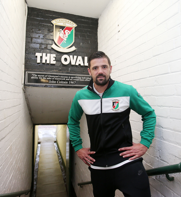 Big name: Nacho Novo at the Oval yesterday after signing for Glentoran
