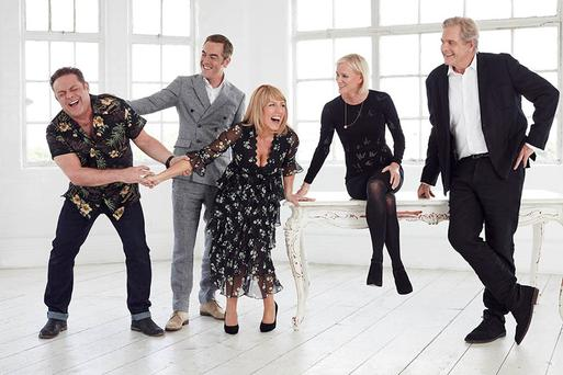 Pictured: The cast of Cold Feet, Pete Gifford [John Thomson], Adam Williams [James Nesbitt], Jenny Gifford [Fay Ripley], Karen Marsden [Hermione Norris] and David Marsden [Robert Bathurst], back together after ten years Picture: ITV