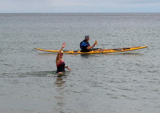 Handout photo of Heather Clatworthy as she began her 13 mile swim from Stroove in Co Donegal to Portstewart in Northern Ireland. PA