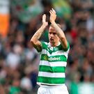Head Bhoy: Leigh Griffiths netted what could be a crucial away goal in the 1-1 draw with Astana in Kazakhstan