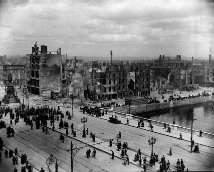 Sackville Street (O'Connell St) shows the devastation of the Easter Rising in 1916