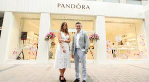 Pete Boyle, franchise owner of PANDORA Belfast and chief executive of Argento and his wife Ciara are pictured at the new store. Photo by Kelvin Boyes / Press Eye