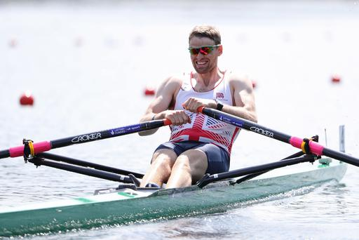 LUCERNE, SWITZERLAND - MAY 27: Alan Campbell of Great Britain competes in the Men's Single Sculls quarterfinal during day 1 of the 2016 World Rowing Cup II at Rotsee on May 27, 2016 in Lucerne, Switzerland. (Photo by Philipp Schmidli/Getty Images)