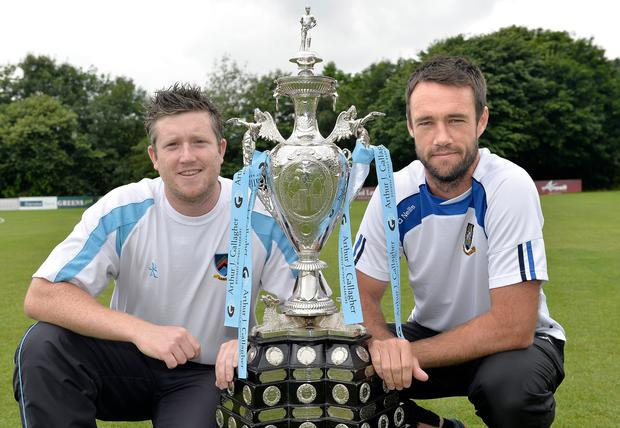 Up for the cup: CSN captain Andrew Cowden (left) with his CIYMS counterpart Nigel Jones pictured with the Arthur J Gallagher Challenge Cup