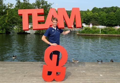 Team game: Alan Campbell poses by the River Thames in London after being announced in the Team GB squad for the Rio Games