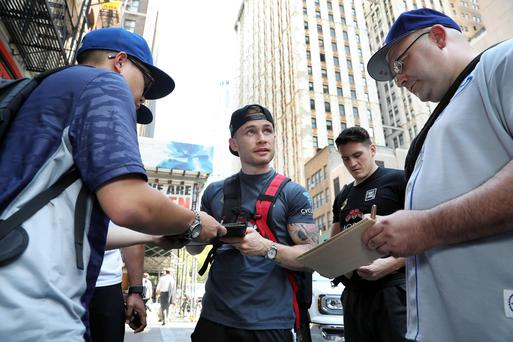 Big draw: Carl Frampton signs autographs for fans in New York