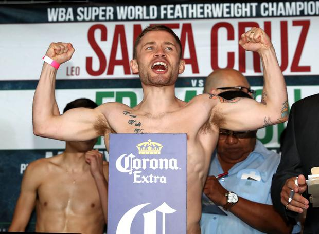 Carl Frampton at the weigh-in at the Barclays Center's Resorts World Casino ahead of the WBA World title bout against Leo Santa Cruz at the Barclay Center, Brooklyn, NY on Saturday night. Picture William Cherry Presseye