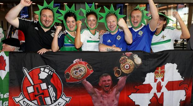 Press Eye - Belfast - Northern Ireland - 29th July 2016 - Photo by William Cherry Carl Frampton fans at the weigh-in at the Barclays Center's Resorts World Casino ahead of the WBA World title bout against Leo Santa Cruz at the Barclay Centre, Brooklyn, NY on Saturday night.