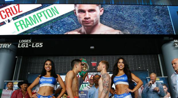 Press Eye - Belfast - Northern Ireland - 29th July 2016 - Photo by William Cherry Leo Santa Cruz and Carl Frampton go head to head after the weigh-in at the Barclays Center's Resorts World Casino ahead of the WBA World title bout at the Barclay Centre, Brooklyn, NY on Saturday night.
