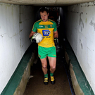 Michael Murphy leads the Donegal team out against Fermanagh