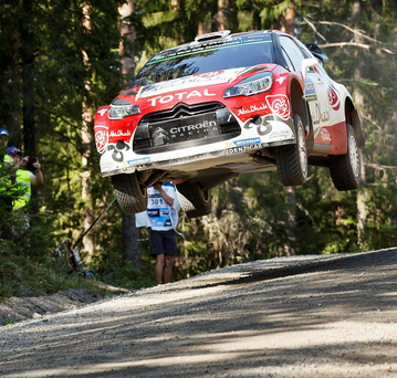 Out in front: Kris Meeke and co-driver Paul Nagle en route to building a lead of 20 seconds at the front of Rally Finland
