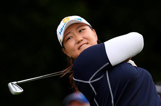 Mirim Lee tees off on the 17th hole on the second day of the Women's British Open