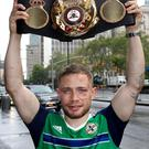 Carl Frampton pictured with the WBA featherweight belt the morning after defeating Leo Santa Cruz at the Barclays Centre, Brooklyn, NY. Press Eye - Belfast - Northern Ireland - 30th July 2016 - Photo by William Cherry