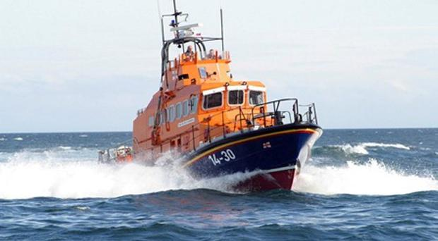 A lifeboat crew carried out a dramatic late-night rescue when it came to the aid of a man who sustained multiple injuries after falling over a wall. File image