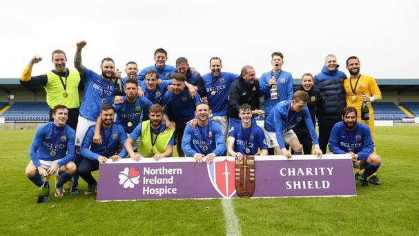 Glenavon celebrate after their Charity Shield victory at Mournview park in Lurgan. Photo Mark Marlow/Pacemaker Press