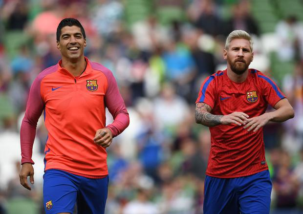 DUBLIN, IRELAND - JULY 30: Lionel Messi (R) and Luis Suarez (L) of Barcelona before the International Champions Cup series match between Barcelona and Celtic at Aviva Stadium on July 30, 2016 in Dublin, Ireland. (Photo by Charles McQuillan/Getty Images)