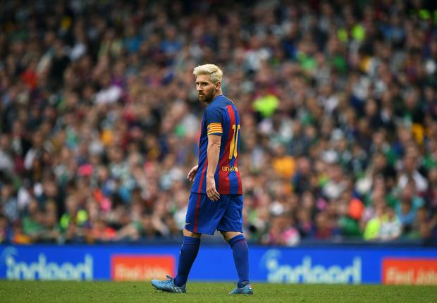 Barcelona's Lionel Messi during the International Champions Cup series match between Barcelona and Celtic at Aviva Stadium on July 30, 2016 in Dublin, Ireland. (Photo by Charles McQuillan/Getty Images)