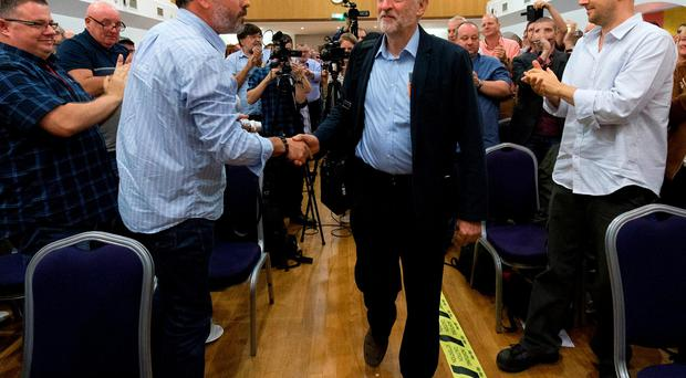 Labour Party Leader Jeremy Corbyn arrives for a Communication Workers Union press conference in central London on August 1, 2016. AFP/Getty Images