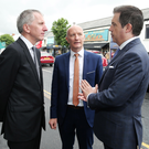 From left, Finance Minister Mairtin O Muilleoir, chief executive of Hospitality Ulster Colin Neill and Northern Ireland Independent Retail Trade Association chief executive Glyn Roberts