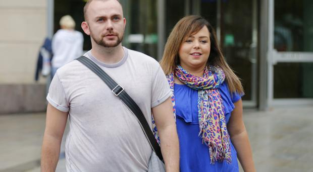 Leonard Collins and Joanne Meadows leave Laganside court victorious as they win back custody of Hank on August 02 2016 ( Photo by Kevin Scott / Belfast Telegraph )
